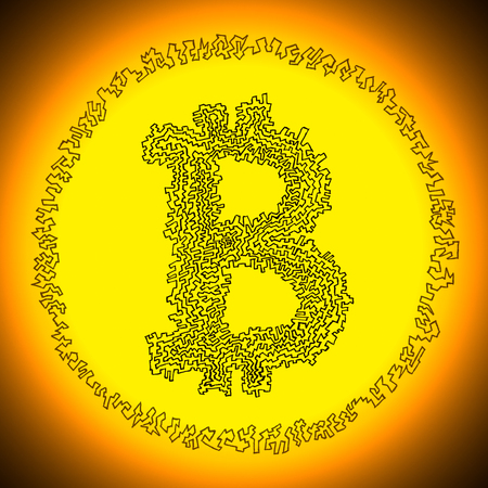crypto: Serrated golden radiant Bitcoin illustration. Logo of a digital decentralized crypto currency coin.