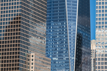 skyscraper skyscrapers: Detail of office buildings and modern skyscrapers in Manhattan, New York City. Stock Photo
