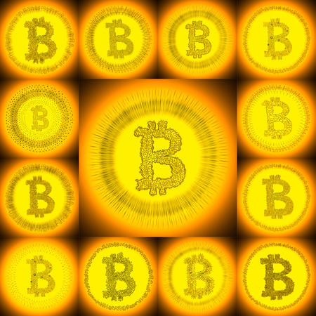 p2p: Golden hand-drawn Bitcoin logo. Collage of a digital decentralized crypto currency symbols.