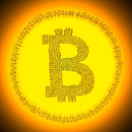 decentralization: Golden radiant digital Blockchain Bitcoin technology logo. Illustration of an electronic decentralized crypto currency coin.