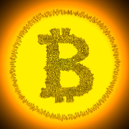 decentralization: Golden radiant Bitcoin illustration. Logo of a digital decentralized crypto currency coin. Stock Photo
