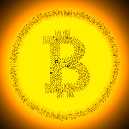 decentralization: Golden Bitcoin symbol. Illustration of a digital decentralized crypto currency coin. Stock Photo