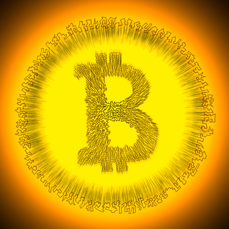 decentralization: Serrated golden radiant Bitcoin logo. Illustration of a digital decentralized cryptocurrency coin.