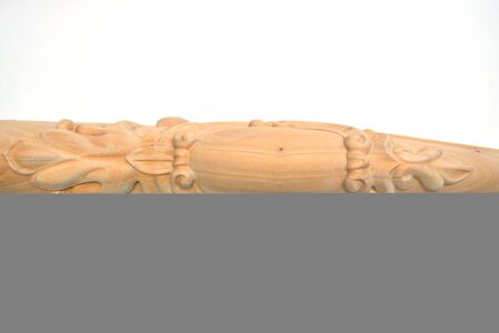 Set vintage classic wood carved architectural columns with ornament for interior or facade. Joinery elements or balusters. Banque d'images