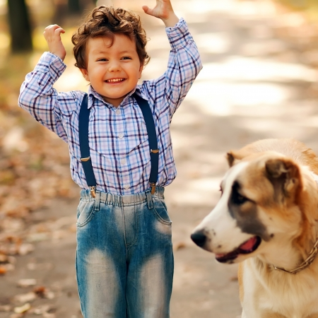 two year old: Little boy playing with his dog