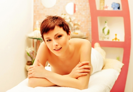 beautiful smiling woman laying on spa procedures Stock Photo - 17749177
