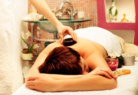 beautiful  woman laying on spa procedure,stone therapy Stock Photo - 17749199