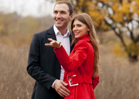 Closeup portrait of smiling young couple in love - Outdoors Stock Photo - 18575226