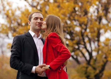couple in love in autumn photo