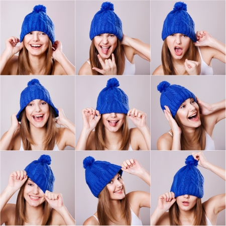 Collage of woman in a blue hat different facial expressions