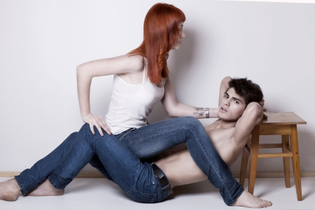 fashion couple in passion, studio shot photo