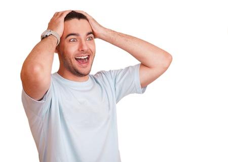cara sorpresa: Expresivo hombre feliz sorprendido, aislado en blanco