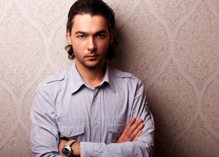 forceful: Portrait of handsome stylish man  Stock Photo