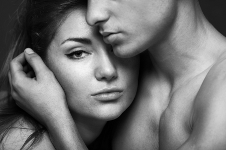 passion portrait of couple in love, black and white photo