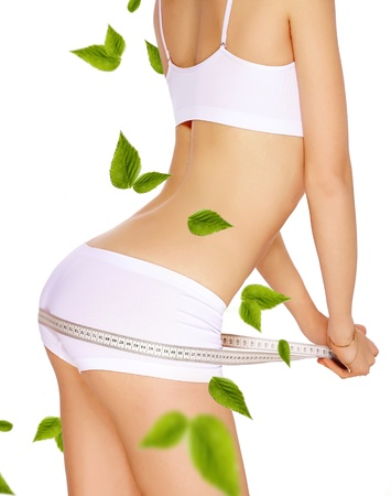 slimming woman in panties with measure on white background