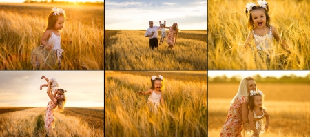 collage of mother, daughter and grandpa with a bouquet of wheat in the sunlight having fun