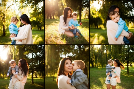 collage of baby boy with his mum playing  in the park photo