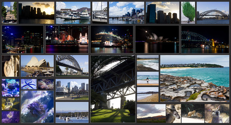 collage of photos of Sydney  and Sydney harbor bridge and Sydney opera house, Australia Editorial