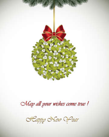 Happy New Year greeting card - Mistletoe decoration with red ribbon. May all your wishes come true. Illustration