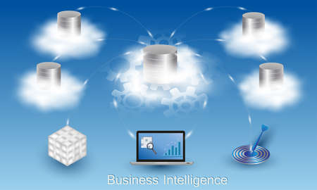 Business Intelligence concept. Cloud data storage. Data processing flow with data sources, ETL, datawarehouse, OLAP, data mining and business analysis.