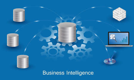 Business Intelligence concept. Data processing flow with data sources, ETL, datawarehouse, OLAP, data mining and business analysis. Ilustração