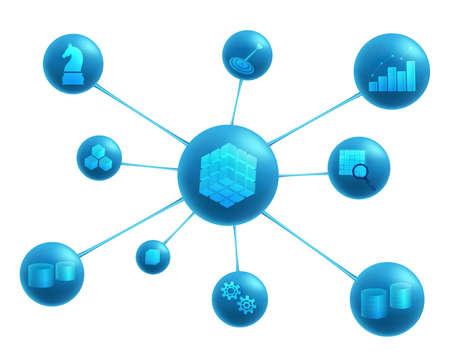 Business intelligence elements: data sources , datawarehouse, ETL, OLAP cube, data marts, data mining, analysis, decision making, targets.  Business intelligence abstract representation. Illustration