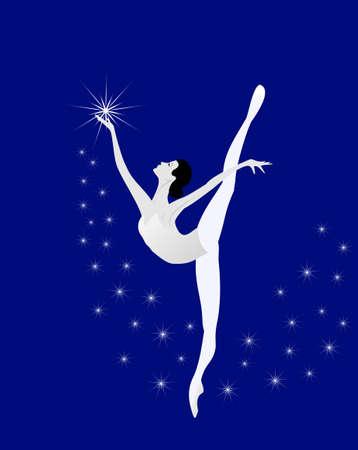ballet ni�as: Bailarina est� bailando con las estrellas Vectores
