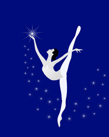 ballet dancing: Ballerina balla con le stelle Vettoriali