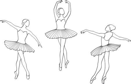Three dancers in classical ballet Vector
