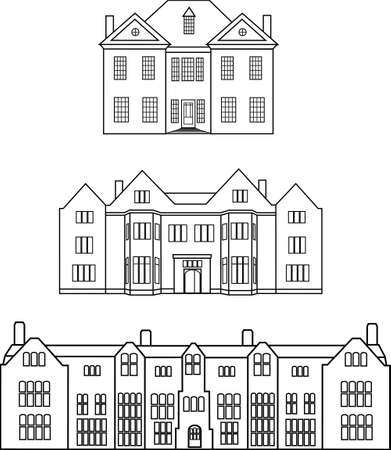 Three silhouettes of english manors Illustration