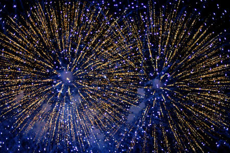 Blue fireworks over Boston, MA, on the 4th of July 2011