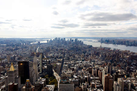 A view of the Manhattan cityscape from the Empire State Building in New York, NY.