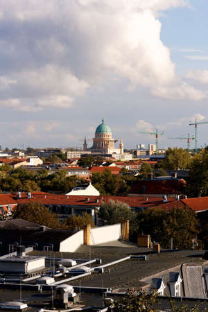A view over Potsdam, Germany, with the Garnisionskirche (Garrison Church) in the center. Taken on October 7, 2011, from near Sanssouci palace.