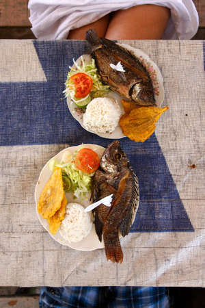 A simple but savory caribbean seafood lunch. Stock Photo