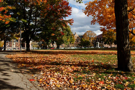 A view of the Cambridge Common in Indian Summer, with Harvard Law School Hastings Hall in the background. photo