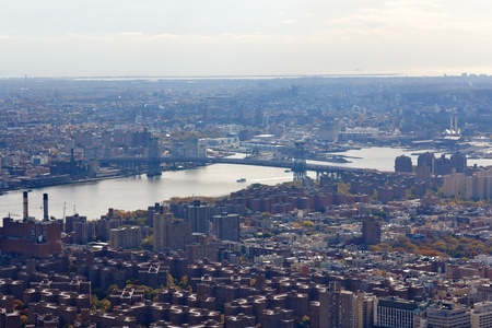 A view of the Williamsburg Bridge from the Empire State Building in New York, NY. photo