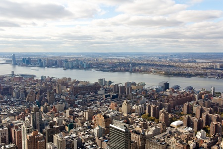 A view towards New Jersey from the Empire State Building in New York, NY.