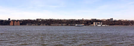 intrepid: A panoramic view of the New Jersey shoreline, shot from the Intrepid Sea, Air & Space museum in Manhattan, New York City, NY.