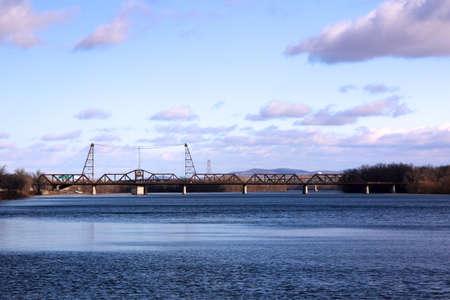 The Livingston Avenue Bridge, a railroad bridge built in 1901, crosses the Hudson between Albany, NY and Rensselaer, NY  Stock Photo