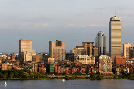 View of the Boston, MA Skyline of Back Bay, including the landmark Prudential Tower  Seen from near Kendall MIT across the Charles river in Cambridge, MA Stock Photo - 12583034