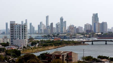cartagena: A panoramic view of apartment towers forming a white skyline in Cartagena de Indias, Colombia  Stock Photo