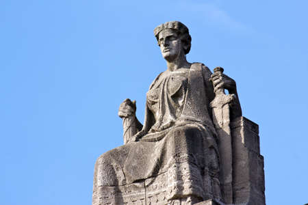 equitable: Justitia, Lady Justice, sitting on her throne in Hamburg, Germany  Stock Photo