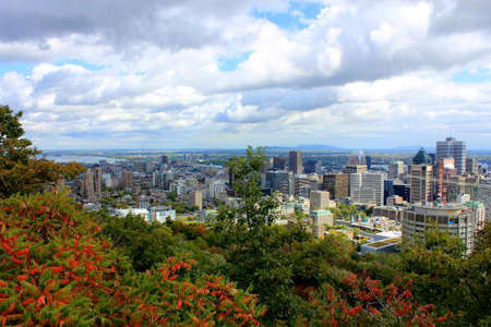 A view of Montreal, Quebec from the park at Mt Royal  Stock Photo - 12583380