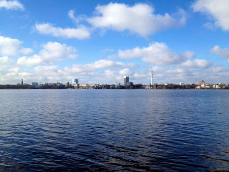 View across lake Alster in Hamburg, Germany, on a beautiful Spring day