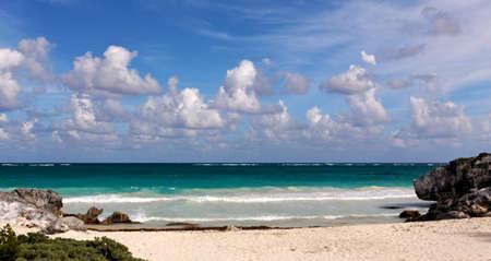 roo: Surf at a Caribbean Beach at Tulum, Quintana Roo, Mexico.