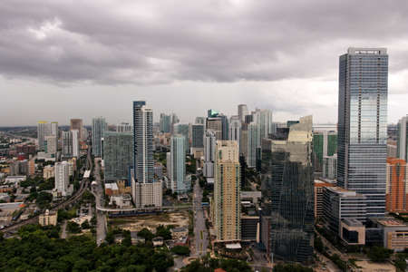A view of Brickell, Miamis financial district, under stormclouds after a tropical storm.