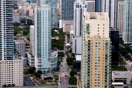 View among apartment towers in the Brickell neighborhood of Miami, FL  One of the city