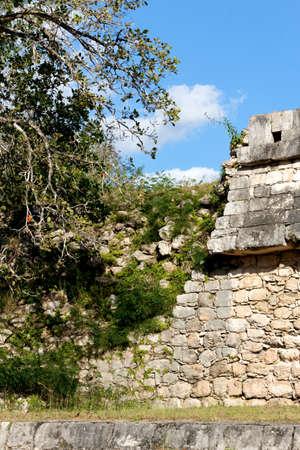 Close-up of a crumbling Mayan wall amid the ruins of Chichen Itza, Yucatan, Mexico  photo