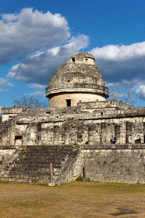 Ruin of a Mayan building at the old city of Chichen Itza  This particular building is thought to have been a ceremonial observatory  photo