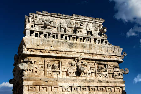 Close-up of an ornate Mayan ruin at Chichen Itza, Yucatan, Mexico